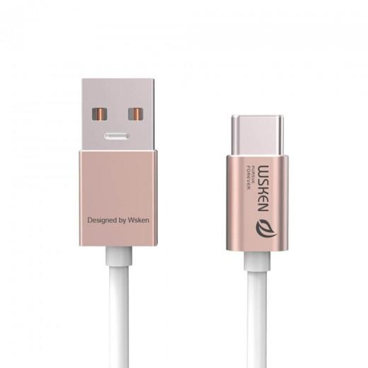 Wsken Type C Metal Data Cable -Rose Gold