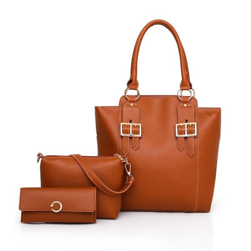 769122b31301 3pcs Set Handbag Women Composite Bag PU Leather Shoulder Bag Large Capacity  Handbag Purse Female ...