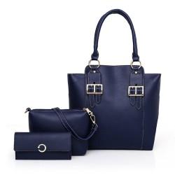 3pcs / Set Bolso de mujer compuesto de cuero de la PU bolso de hombro de gran capacidad bolso monedero femenino Crossbody bolsa