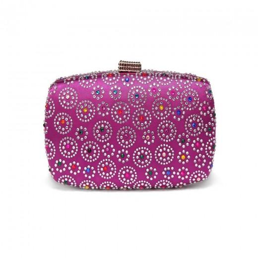 Women Evening Bag Ladies Party Clutches Bag Wallet Purse Phone Bag-Purple