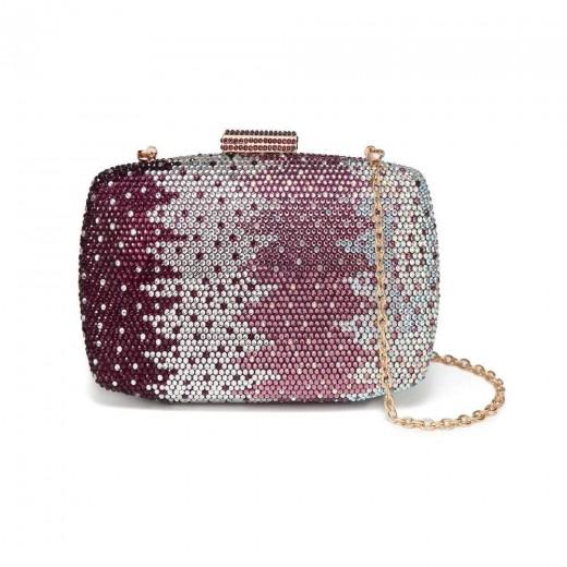 CAIYUE Women Handbag Wedding Party Evening Envelope Clutch Bag Wallet Purse Messenger Phone Bag Purple - Purple