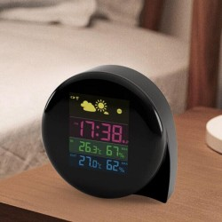 Mini Comma Weather Station Digital LED Screen Indoor Outdoor Thermometer Hygrometer Weather Forecast Daily Clock