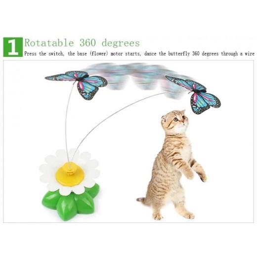 Mariposa eléctrica de baile de plástico alrededor del juguete del gato de la flor