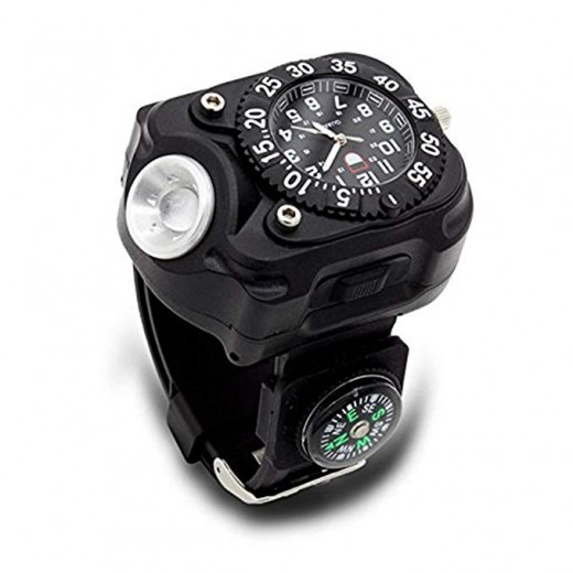 Reloj de linterna LED impermeable recargable con brújula