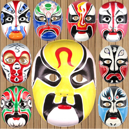 Festival Performance, máscara de pulpa pintada a mano, máscara de ópera de Pekín, estilo chino