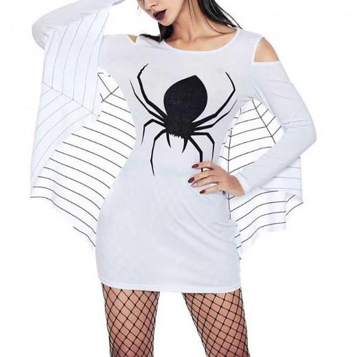 Women Sexy Halloween Uniform Spider Print Open Shoulder Bat Long Sleeve Party Stage Suit