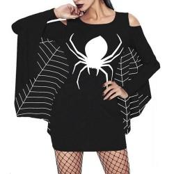 Traje de fiesta de manga larga de fiesta de manga larga de murciélago de impresión de araña uniforme de las mujeres sexy