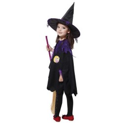 Halloween Costume Party Girls Cape Black Dress Smock