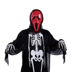 Halloween Skeleton Head Masquerade Adult Skeleton Costume + Red Pointed Mask + Gloves