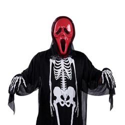 Disfraz de Esqueleto Cabeza de Halloween Disfraz de Esqueleto Adulto + Máscara de Punta Roja + Guantes