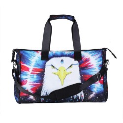 3D Creative Printed Eagle Pattern Men And Women Bag Travel Satchel Handbag - Multi Color