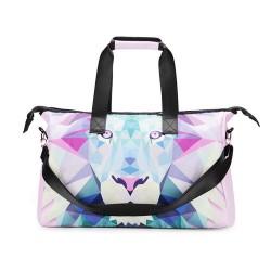 3D Creative Printed Lion Pattern Men And Women School Bag Travel Satchel Handbag - Multi Color