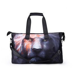 3D Creative Printed Melancholy Lion Pattern Men And Women Bag Travel Satchel Handbag - Multi Color