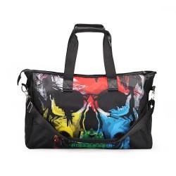3D Creative Printed Skull Pattern Men And Women Bag Travel Satchel Handbag - Multi Color