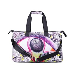 3D Creative Printed Moon Eye Pattern Men And Women Bag Travel Satchel Handbag - Multi Color
