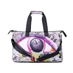 3D Creative Impreso Moon Eye patrón hombres y mujeres bolsa de viaje Satchel bolso - multicolor