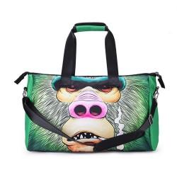 3D Creative Printed Orangutan Pattern Men And Women Bag Travel Satchel Handbag - Multi Color