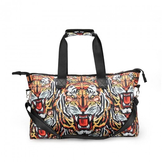 3D Creative Printed Tiger Pattern Men And Women Bag Travel Satchel Handbag - Multi Color