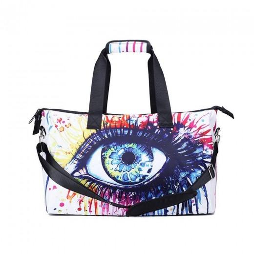 3D Creative Printed Flower Eye Pattern Men And Women Bag Travel Satchel Handbag - Multi Color