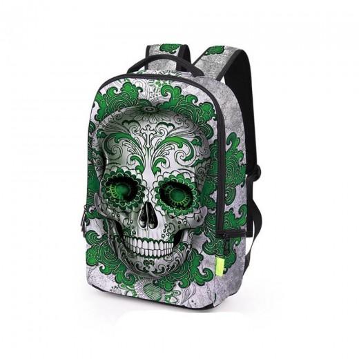 3D Creative Printed Graffiti Green Skull Pattern Men And Women Rucksack Travel Satchel Backpack - Green