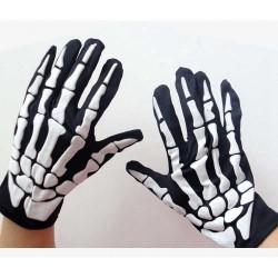 Fiesta de disfraces de Halloween Guantes de tela esqueleto divertidos - Negro