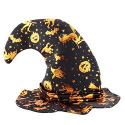 Disfraz de Halloween Party Bar Decoration Sombrero de Bruja Pumpkin Wizard Wizard - Dorado