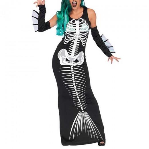 Women Halloween Adult Mermaid Print Skull Shape Dress + Hair hoop + Glove Three-piece Set Size L - Black