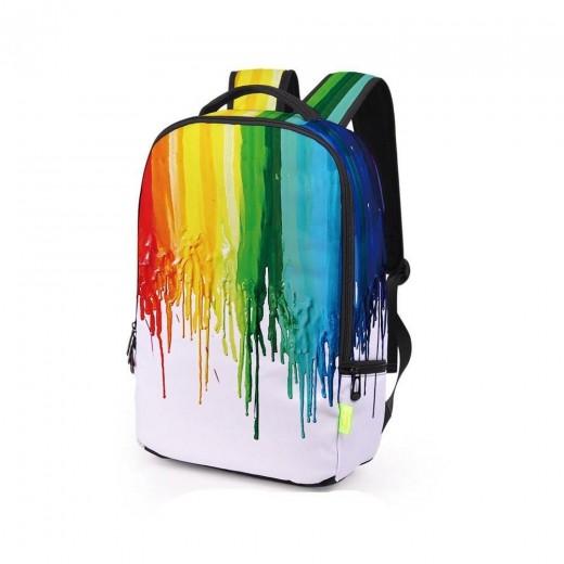 3D Creative Printed Rainbow Pigment Men And Women Rucksack Travel Satchel Backpack - White