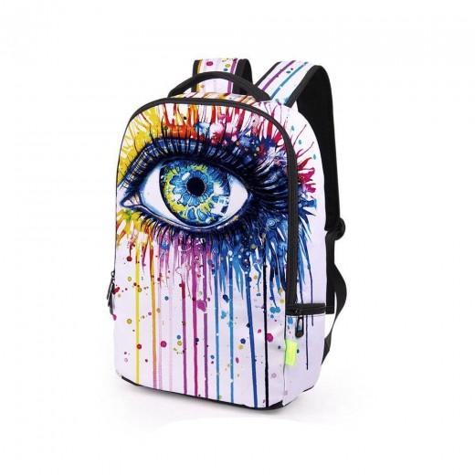 3D Creative Printed Eye Pattern Men And Women Rucksack Travel Satchel Backpack - White