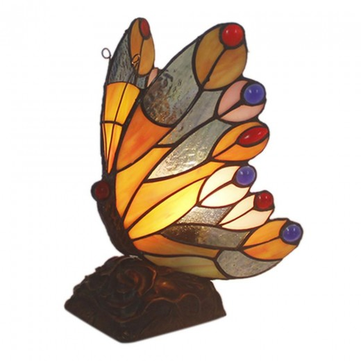 FUMAT TIFFANY Lamp European Classic Stained Glass Butterfly Night Lamp for Bedside Lamps Home Deco Nursing Night Light