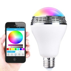 Bluetooth Speaker LED E27 Smart Bulb APP Control Multicolore Colorful LED Speaker - White