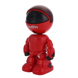 VESKYS N14 1080P WiFi IP Robot Camera 2.0MP Wireless P2P Network Baby Monitor Two Way Audio CMOS Night Vision - Red EU Plug