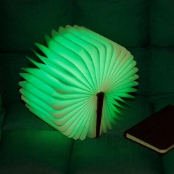 Walnut Foldable Book Shaped LED Night Light USB Book Bedside Lamp - Warm Light