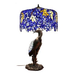 FUMAT TIFFANY Lamp European Classic Stained Glass Bird Resin Table Lamp Luxury Glass Desk Lamp for Living Room Bedroom -
