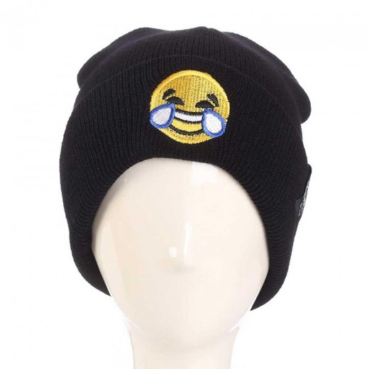 Unisex Expression Embroidered Knitted Hat KLV Personality New Cartoon Wool Cap Cover Head Outdoor Warm Cuffed Hat