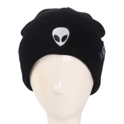 Unisex Fashion Autumn Winter Alien Embroidery Picture Warm Cartoon Pattern Outdoor Ski knitted Hat