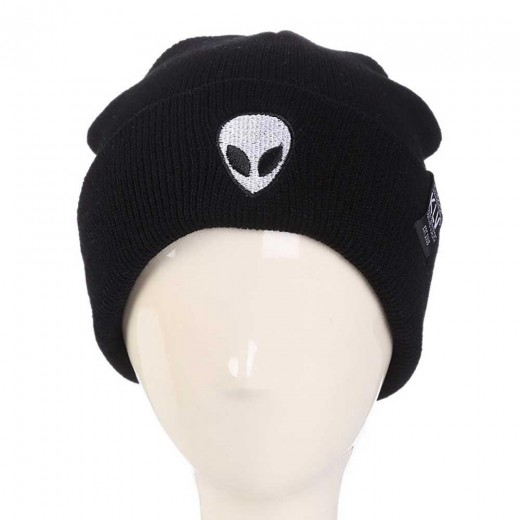 Unisex Fashion Autumn Winter Alien Embroidery Picture Warm Cartoon Pattern Outdoor Ski knitted Hat