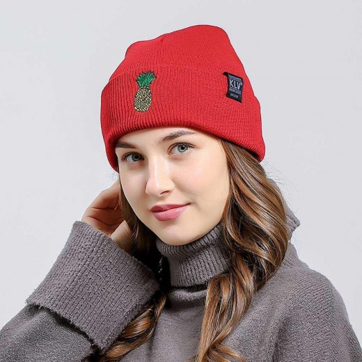 Unisex Fahion Warm Pineapple Pattern Embroidered Autumn Winter Outdoor Hat Cuffed Head Cap