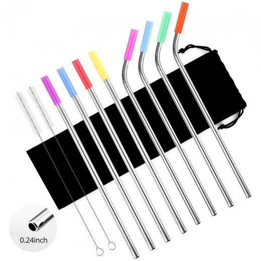 Stainless Steel Straws Set of 8, Tker 10.5 inch Metal Reusable Drinking Straws for 30oz / 20oz Tumblers with Silicone Tips(4 Straight|4 Bent|2 Brushes)