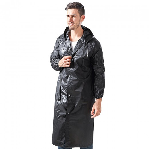 "Reusable Rain Coat Jacket with Hood, Size 59"" by 27.5"""