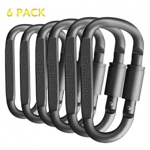 6pcs Black No. 4 D-Shaped Mountaineering Carabiner Aluminum Alloy Hanging Buckle Outdoor Sports Equipment Tool