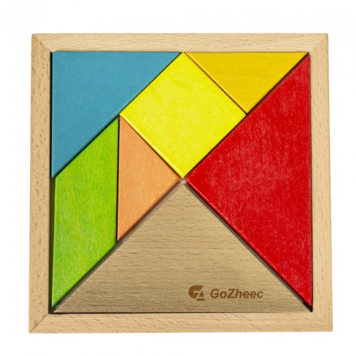 7 Piece Colorful Wooden Tangram Puzzle Set for Kids Toys