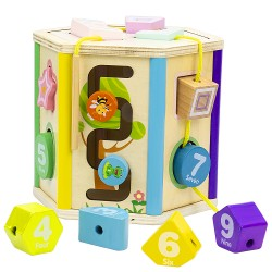 Wooden ABC Blocks. Extra-Large Engraved Baby Alphabet Letters, Counting & Building Block Set